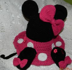 Hand Knit and Crochet Baby Girl Minnie Mouse