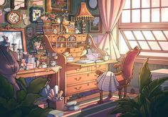 """chromaddy on Twitter: """"my first thought was this artist… """" Pretty Art, Cute Art, Fantasy Landscape, Fantasy Art, Aesthetic Art, Aesthetic Anime, Isometric Art, Mystique, House Drawing"""