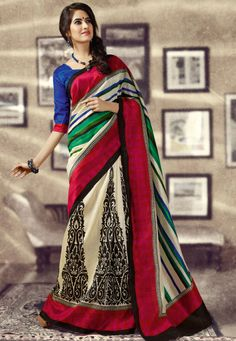 Cream Art #Silk Saree designed with Printed Work. And as shown Blue Art #Silk Blouse fabric is available which can be customize as per requirements.  With exciting Flat 30% discount! INR :-917