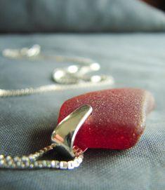 Rare red Sea glass necklace in sterling silver #seaglass #seaglassjewelry #giftideas