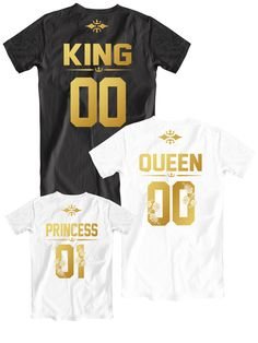 King and Queen 01 Princess 01 family t-shirts, King Queen Princess 01 shirts, Father Mother Daughter shirts, Mom Dad Daughter shirts, Family shirts with custom numbers on the back, Golden letters design, family photoshoot, family photoshoot ideas, family photos, family gift ideas