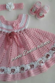 Crochet pink and gray baby dress set with rosebuds comes w Crochet Baby Dress Pattern, Baby Girl Crochet, Crochet Baby Clothes, Crochet For Kids, Knit Crochet, Baby Dress Clothes, Little Girl Dresses, Doll Clothes, Baby Patterns