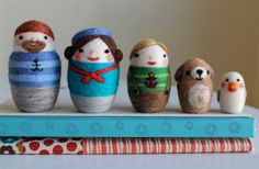 Needle Felted Nested Sailor Doll Family Set of 5 by ValsArtStudio, $275.00