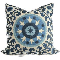 Blue Tufted Tribal Suzani Decorative Pillow Cover by PopOColor