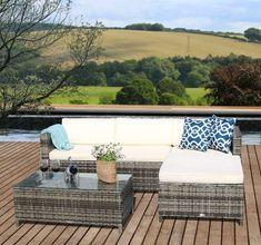 PATIOROMA 5pc Outdoor PE Wicker Rattan Sectional Furniture Set