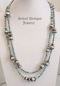 Schaef Designs Blue Turquoise & Sterling Silver Bench Bead LONG Necklace | Native American Jewelry | Schaef Designs Southwestern Native American turquoise Jewelry | New Mexico