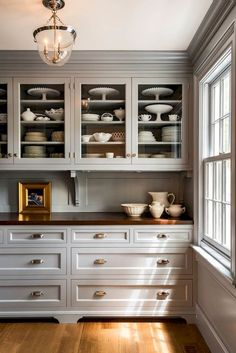 Love these cabinet design and color, not in love with upper but like how mounded into cealing Grey Cabinets, Glass Cabinets, Wall Of Kitchen Cabinets, Windows In Kitchen, Dining Cabinet, Kitchen Buffet Cabinet, Kitchen Cabinets With Crown Molding, Dining Room Cabinets, Colors For Kitchen Walls