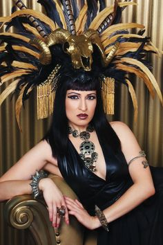 READY TO SHIP/Cleopatra Headdress/Feather Headdress/ Cleopatra
