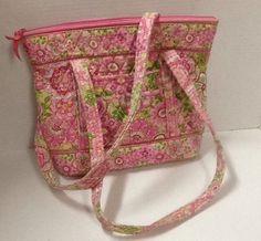 Vera Bradley Petal Pink Large Handbag 3 Pockets Clip In Front Shopper Tote Purse