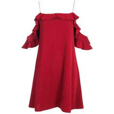 Boohoo Eli Cold Shoulder Frill Detail Shift Dress | Boohoo ($16) ❤ liked on Polyvore featuring dresses, red tuxedo, red sequin dress, red shift dress, bodycon dress and red cocktail dress