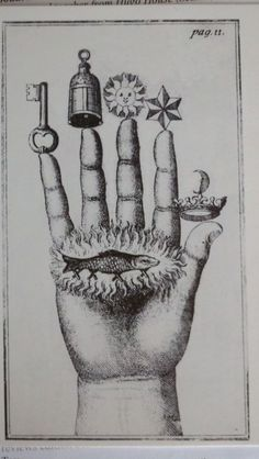 """(Isaac J. Hollandus, Chymische Schriften, Vienna 1773)  Found this in a second-hand bookshop in a collection of postcards with the theme of Alchemy. Something about it keeps me coming back to try to make sense of the images, the symbols—the way a poem might. Even after I found more about it online, it remains odd and mysterious to me.  Also odd is a description on flickr I found that refers to the little finger as the ear finger:    """"This is the hand of the philosophers with their seven s"""