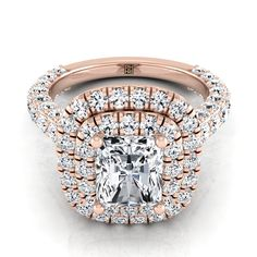 Radiant Cut Diamond Double Halo Engagement Ring With A Pave Shank In Rose Gold Ct. Radiant Cut Engagement Rings, Double Halo Engagement Ring, Perfect Engagement Ring, Rose Gold Engagement Ring, 11 Stone, Radiant Cut Diamond, Shank, Jewelry, Rose Gold Square Engagement Ring