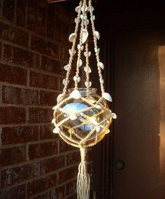 CYBER Week SALE - Seashell macrame hanging candle holder - air plant holder - OOAK beach decor