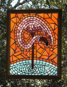 Beach collection. Beautiful pink flamingo stained glass mosaic!
