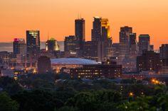 The beautiful Minneapolis skyline at sunset.