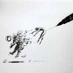 Dragged out of comfort zone by Koveck on DeviantArt Joker Drawings, Trippy Drawings, Space Drawings, Dark Drawings, Ink Pen Drawings, Astronaut Illustration, Out Of Comfort Zone, Astronaut Tattoo, Geometric Drawing