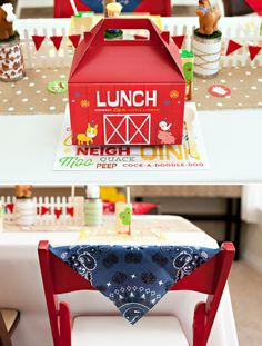 bandanas on the back of chairs...link on here http://www.fisher-price.com/en_US/baby/fpbaby/mfbc/partyideas/hostesswithmostess/index.html for free lunchbox decor dowmload..