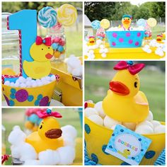 Splish Splash Rubber Duck Party Paper Mache Number One Bubble Glittery Glam First Ducky Birthday Party Sweets Table Candy Buffet via Autumn Lynn& Chocolate Sins Rubber Duck Birthday Party Ideas, Rubber Ducky Birthday, Rubber Ducky Party, Girl First Birthday, Baby Birthday, First Birthday Parties, Birthday Party Themes, First Birthdays, Birthday Ideas