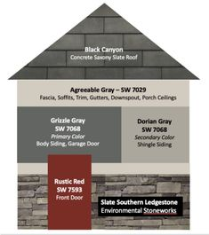 6 Exterior Paint Color Combos (and how to pick them) - Color Concierge - - Exterior paint colors for your existing home or new build can be overwhelming. You can pick your exterior paint colors in a few steps with this post. Paint Color Combos, House Paint Color Combination, Exterior Paint Color Combinations, Exterior Color Palette, Exterior Paint Schemes, Design Exterior, Grey Exterior, Gray Exterior Houses, Black Trim Exterior House