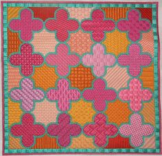 Kate Dickerson Moroccan tiles quatrefoils - comes with stitch guide - every space has a different stitch
