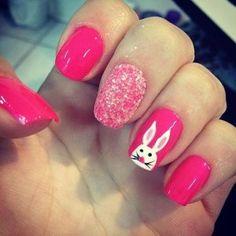 roz pasxaliatiko nail art