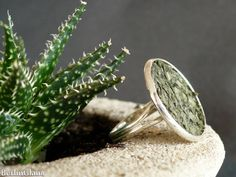 Green fish leather ring green cocktail ring by BerlinGlam on Etsy
