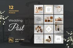 Instagram Puzzle – Wedding Post, is a professional, modern and elegant template for your Instagram posts and Gallery. Inspirational Posts, model photography, product Gallery, introduce your brand and more. With this Instagram post template, you can easily improve the quality of your Instagram with a more attractive and professional one.This template is fully editable and can be customized in Adobe Photoshop. It's very simple to use these template in Photoshop. Just edit texts and put your… Instagram Creator, Instagram Grid, Free Instagram, Instagram Quotes, Instagram Posts, Mood Board Creator, Grid Puzzles, Instagram Banner, Grid Layouts
