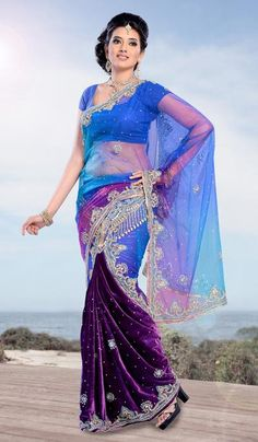 G3 Fashions Purple and Blue Velvet Net Embroidered Designer Lehnga Saree  Product Code : G3-LS11721 Price : INR RS 9032