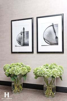 green hydrangea and black and white prints - Kelly Hoppen for Yoo Ltd @ Barkli Virgin House, Moscow, Russia. www.kellyhoppen.com