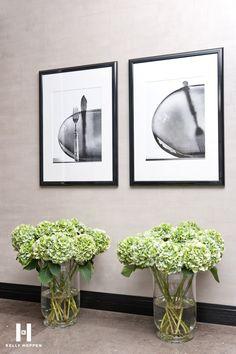 green hydrangea and black and white prints -  Kelly Hoppen for Yoo Ltd @ Barkli Virgin House, Moscow, Russia. www.kellyhoppen.com