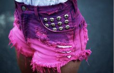 Pink and purple cut off shorts