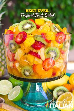 The Best Ever Tropical Fruit Salad is the only recipe you'll ever need. My entire picky family devoured this fruit salad. The dressing is truly magical. The combination of citrus juices with honey are phenomenal. Then we added a few special ingredients that give it a little nuttiness and a touch of zestiness to kick it up a notch. Perfect any-occasion dish. Recipe from @SlowRoasted