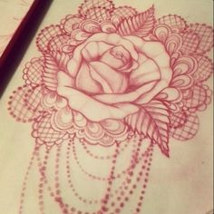 Rose, lace, bead drapes. Loove!
