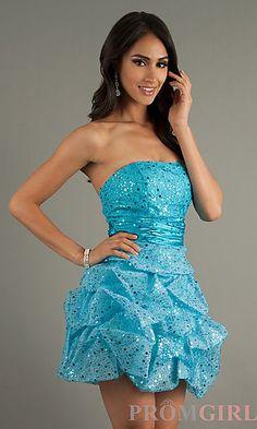 Short Strapless Sequin Embellished Dress at PromGirl.com