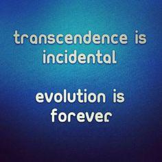 Transcendence is Incidental.  Evolution is Forever. #TBT #Truth #Real #Transcendence #Evolution #Forever
