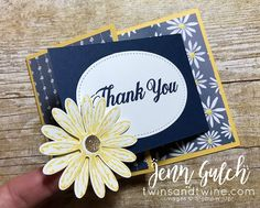 Hello Saturday!! Today I'm sharing brand spankin' new loot!  I made a handful of these beauties for a swap I'm participating in to showcase new products! This card uses the new Daisy Delight stamp set, Delightful Daisy Designer Series Paper and Daisy punch! I love how these fancy fold cards turned out! Navy and yellow are so classic! Measurements: One (1) 4 1/4″ x 8 1/2″ piece of card stock (Daffodil Delight) One (1)… Continue reading