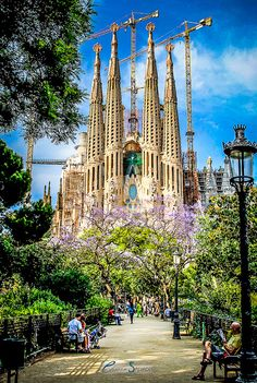 **Sagrada Familia, Barcelona, Spain, Designed by Gaudi.You enter through Gaudi's design and exit through a more modern design strongly influenced by Picasso! Places Around The World, Oh The Places You'll Go, Travel Around The World, Places To Travel, Places To Visit, Travel Destinations, Spain Travel, Travel Usa, Wonders Of The World