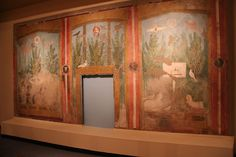 Garden fresco  This large-scale fresco now broken into three sections, once covered the entire back wall of the summer triclinium, or dining room, of the House of the Gold Bracelets in Pompeii. The center section framed a niche, possibly for a working fountain. In homes with limited space for a garden or green space, these wall paintings created the illusion of a large garden.   Credit: Photo by Ethan Lebovics.
