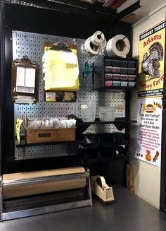 Wall Control Galvanized Metal Pegboard being used here in a wrapping station to keep things organized and an arm's reach away. With Thanksgiving being less than a week away, we thought we'd post one of the few customer photos we have that features a turkey in it! Thanks for the great customer pic Karen!