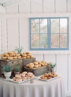 Donuts table! http://www.stylemepretty.com/little-black-book-blog/2015/10/21/rustic-romance-at-leo-carillo-ranch/ | Photography: Caroline Tran - http://carolinetran.net/