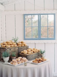 Donuts table! http://www.stylemepretty.com/little-black-book-blog/2015/10/21/rustic-romance-at-leo-carillo-ranch/ | Photography: Caroline Tran - http://carolinetran.net/