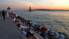 A sunset view of the water in Istanbul.