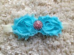 Blue Shabby Flower Infant Baby Girl Toddler by HannahHeadbands, $8.00