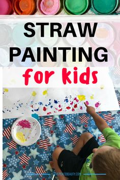 Create some beautiful artwork with kids by blowing paint across the paper using a straw. Preschoolers and older children will enjoy the abstract results of this straw painting project. This is one of those classic activities I used when I was teaching and I was excited to try it with the boys. It is a very …