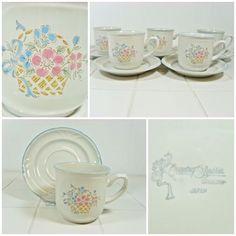 4 x Cups & Saucers - Country Basket Haviland - Japan Vintage Tea Coffee FREE P&P