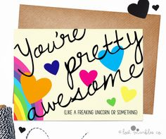 Funny Love Card  Valentine Card  Anniversary Card  Unicorn Card by Lost Marbles Co