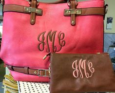 Monogrammed Purse Bag Tote Mint or Coral by StitchingOasis on Etsy