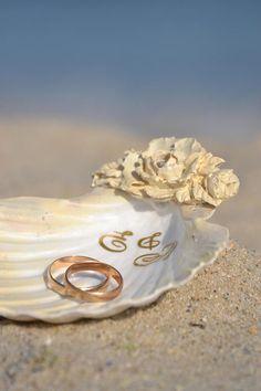 Seashell Ring Holder RoseGold Shell Ring Bearer Beach Wedding