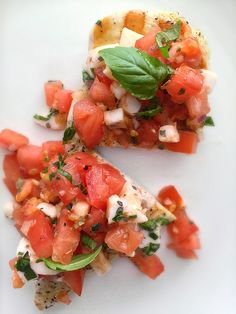 Grilled Chicken with Bruschetta Topping! Only 198 calories. Dress up plain grilled chicken with a tomato, basil, and mozzarella topping!