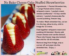 No Bake Cheese Cake Stuffed Strawberries